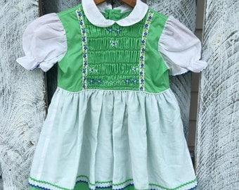 Polly Flinders Girls Size 6 Vintage Handsmocked Dress