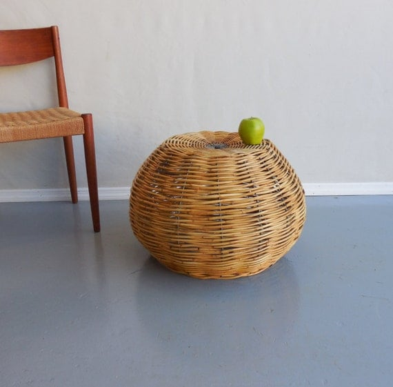 Rattan Coffee Table Etsy: Large Rattan Reed Galvanized Rod Woven Basket Ottoman Table