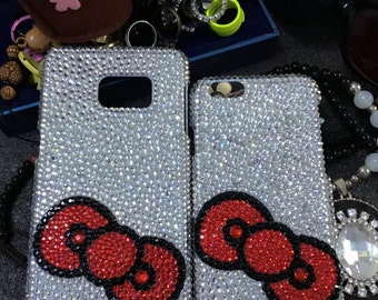 Bling Girly Red Bow Charms Luxury Silver Sparkles Gems Crystals Rhinestones Diamonds Fashion New Lovely Hard Cover Case for Mobile Phones