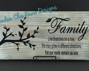 Family-Like Branches On A Tree Wood Sign