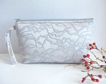 Satin And Lace Clutch - Bridesmaid Wristlet - Gray Clutch - Silver Wristlet - Bridesmaid Clutch - Silver Clutch - Silver Wedding Clutch