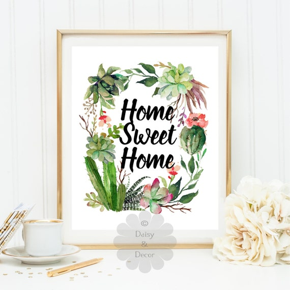 Items similar to home sweet home quote art print wall - Home sweet home decorative accessories ...