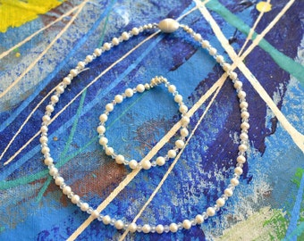 "18"" Freshwater Pearl Necklace and Bracelet with Swartsky Crystals"