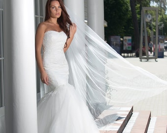 Elegant Lace Mermaid Wedding Dress with Lace Corset, Tulle Skirt, Lace Edge, Lace Train, Sweetheart