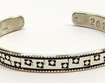 Handmade, Sterling Silver, Stamped Bracelet.  Simple, Elegant, Charming.  Medium Size