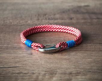 Sailor Bracelet men-Women, jewelry for men women, nautical bracelet red checkered-blue, Christmas gift, bracelet for her and him