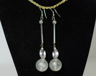 Crystal Ball Long Drop Earrings Beaded Vintage Jewelry