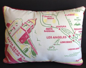 "Vintage California Tablecloth Pillow, 12"" x 16"" & Insert Included"
