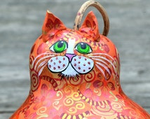 Orange Tabby Cat- Gourd Art- Painted Gourd- Orange Patch- Cat Decor- Cat Decorations- Cat Gifts for Her