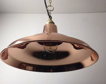 Large Davey Style Polished Copper Ceiling Light