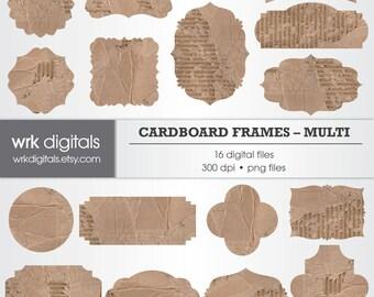 Cardboard Frame Clip Art Digital Pack, Digital Scrapbooking, Instant Download