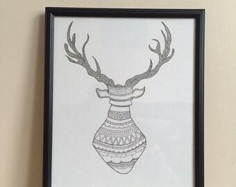 A4 Mr Stag Print - Black & White