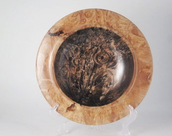 "Dyed Big Leaf Maple Burl platter #782.  12"" in diameter, 2"" tall."