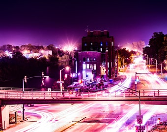 Purple Lane, Night Long Exposure Photography, Cityscape Photography, Urban Photography, Iowa City Photography, 8x10 Art Gift Print