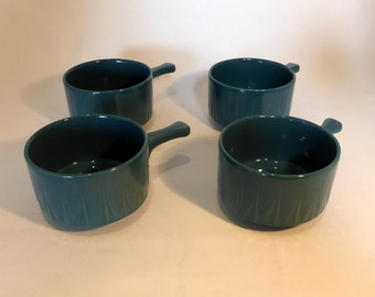 Teal blue handled soup bowls - original from the 1960s