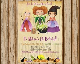"""Hocus Pocus Birthday Invitation- Hocus Pocus Invitation- Halloween Birthday Invitation- Witch Birthday Invitation-  5""""x7"""" size-Digital"""