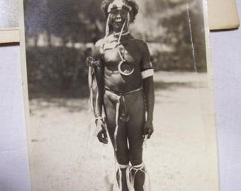 """Antique Photograph Naked """"Savage"""" African Tribesman Man 4x6"""" Africa Tribal"""