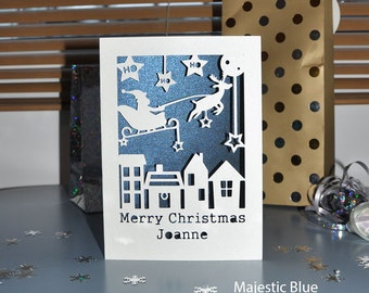 Personalised Merry Christmas Card - Handmade Paper Cut - 5x7 Inches