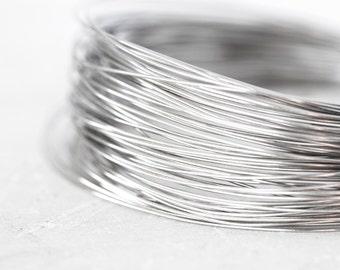 2078_Sterling silver wire 0.4 mm, Soft wire 26 gauge, Jewelry wire, Rhodium plated wire, 925 sterling silver wire, Silver craft wire_1 m.