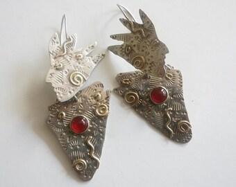 native earrings figure dangles tribal jewelry sterling silver earrings carnelian