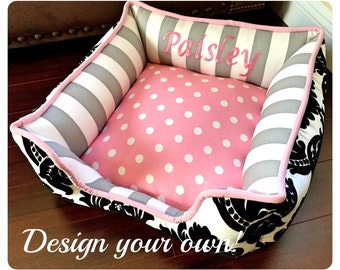 Polka Dot Cat or Dog Bed | Cat Bedding | Dog Bedding | Pet Accessories | Pet Bedding | Select your own fabric | Cute Pet Bed
