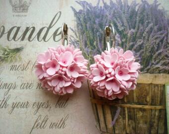 Flower earrings Pink flower earrings Blossom earrings Floral earrings Cluster earrings Wedding earrings Clay flower earrings Valentines gift