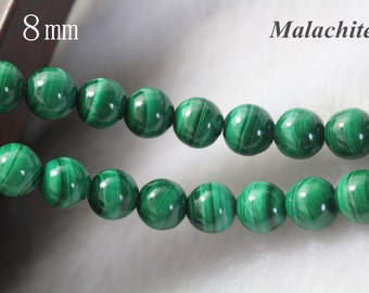 AA Malachite beads, 8 mm, Natural and Smooth Round Beads, 15 inch strands