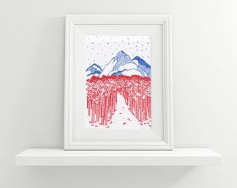 Foot of the mountain in blue & red