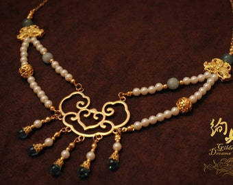 Magnolia Garden Modernised Oriental Pearl Agate Necklace