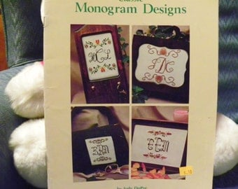 Cross Stitch Pattern Book - Classic Monogram Designs - 4 Different Alphabets and Scroll, Floral Designs