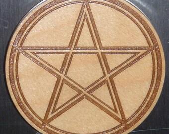 Wooden Pentacle Symbol Magnet