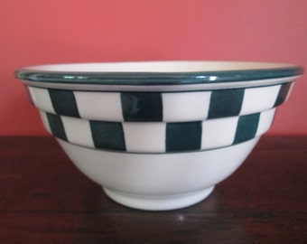 HARSTONE Pottery Mixing Serving Bowl Green Check Ribbed Vintage