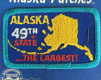 LAST ONE! Alaska 49th State ...The Largest Vintage Souvenir Travel Patch from J&H Sales in Anchorage, AK