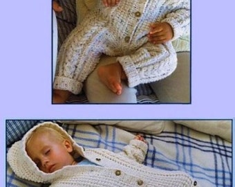 Baby Aran All In One Jumpsuit And Sleeping Bag, Knitting Pattern. PDF Instant Download. 99p