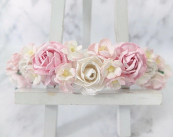 White and pink flower crown - wedding floral hair wreath - flower headpiece - flower hair accessories for girls