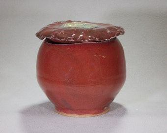 Bright Red Spherical Stoneware Ceramic Jar with Bold Flower Lid