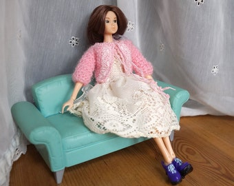 MOMOKO and Blythe doll pink CARDIGAN and creamy lace DRESS set