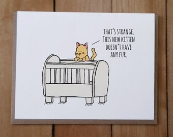 New Baby Card - Funny card, Cat card, Cat Baby card