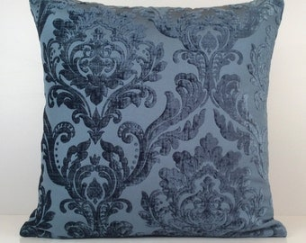 Light or Silverish Navy Blue Pillow, Throw Pillow Cover, Decorative Pillow Cover, Cushion Cover, Pillowcase, Accent Pillow, Velour Blend.