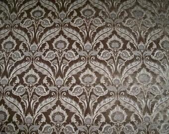 DESIGNER ART NOUVEAU Grandeur Italian Cut Velvet Fabric 5 Yards Taupish-Brown / Beige