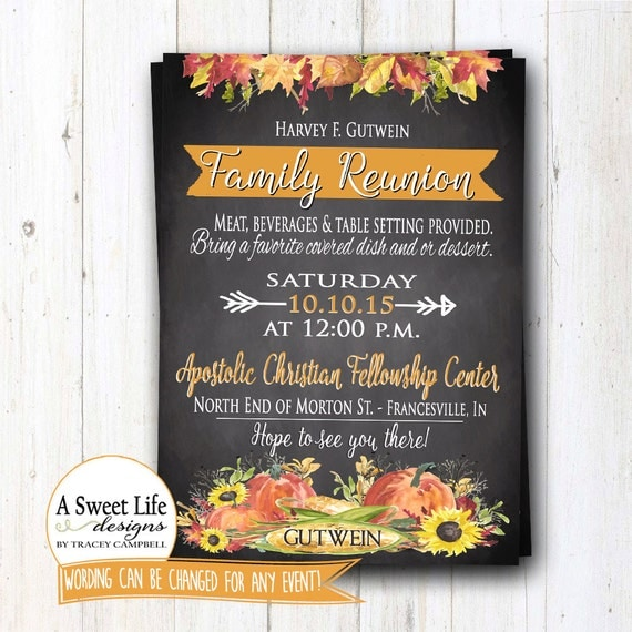 fall family reunion invitation thanksgiving dinner invite