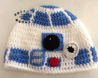 Star Wars Inspired R2D2 Beanie >>  Crocheted >> Handmade >> Character Hat