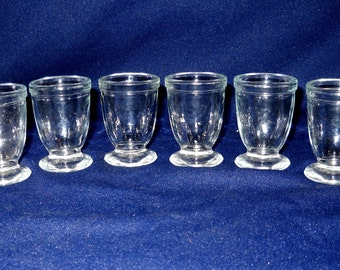 Vintage Shot Glass, Set of Six (6), Footed Shot Glasses, Clear Glass