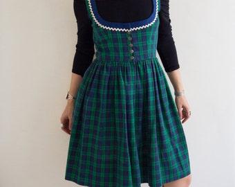 Vintage 1970's  Plaid/Tartan Dress Size-Small