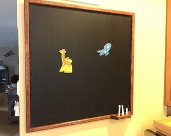Solid Oak Magnetic Chalkboard with Chalk Holder