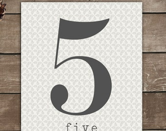 Numbers Print, 5, Five, Vintage Inspired, Typography Art