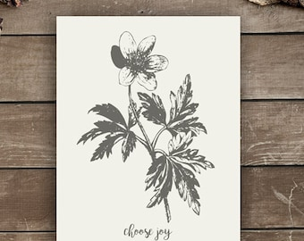 Choose Joy, Wall Print, Farmhouse Style, Vintage Inspired