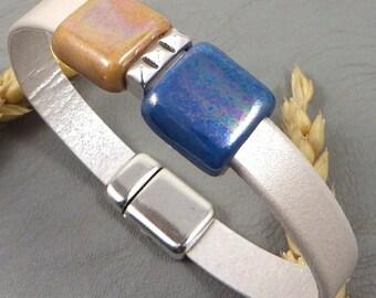 Kit tutorial ivory metallic leather strap beads ceramic