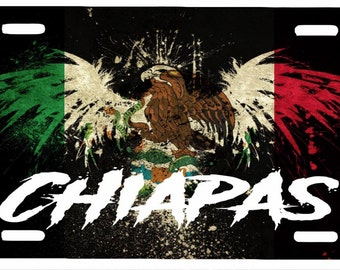 "Chiapas Mexico Aluminum License Plate Placa  6"" x 12"""