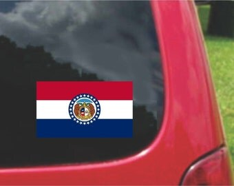 2 Pieces Missouri  State Flag Vinyl Decals Stickers Full Color/Weather Proof. U.S.A Free Shipping